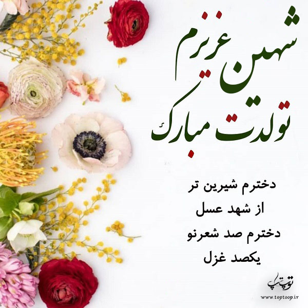 تصویر از عکس نوشته شهین تولدت مبارک + متن تبریک تولد خاص